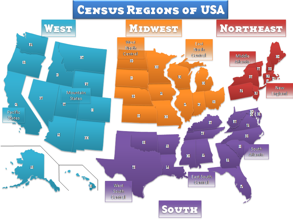 Usa Editable Ppt Map Ground Truth - Us-census-map-regions